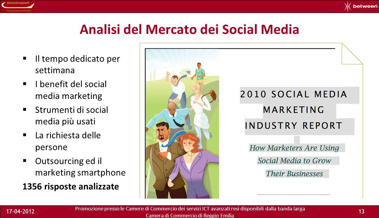 Promozione presso le Camere di Commercio dei servizi ICT avanzati resi disponibili dalla banda larga Camera di Commercio di Reggio Emilia 17-04-201213