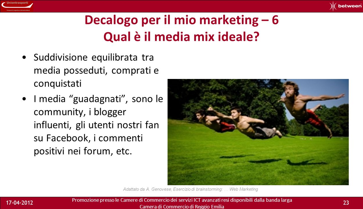 Promozione presso le Camere di Commercio dei servizi ICT avanzati resi disponibili dalla banda larga Camera di Commercio di Reggio Emilia 17-04-201223 Decalogo per il mio marketing – 6 Qual è il media mix ideale.
