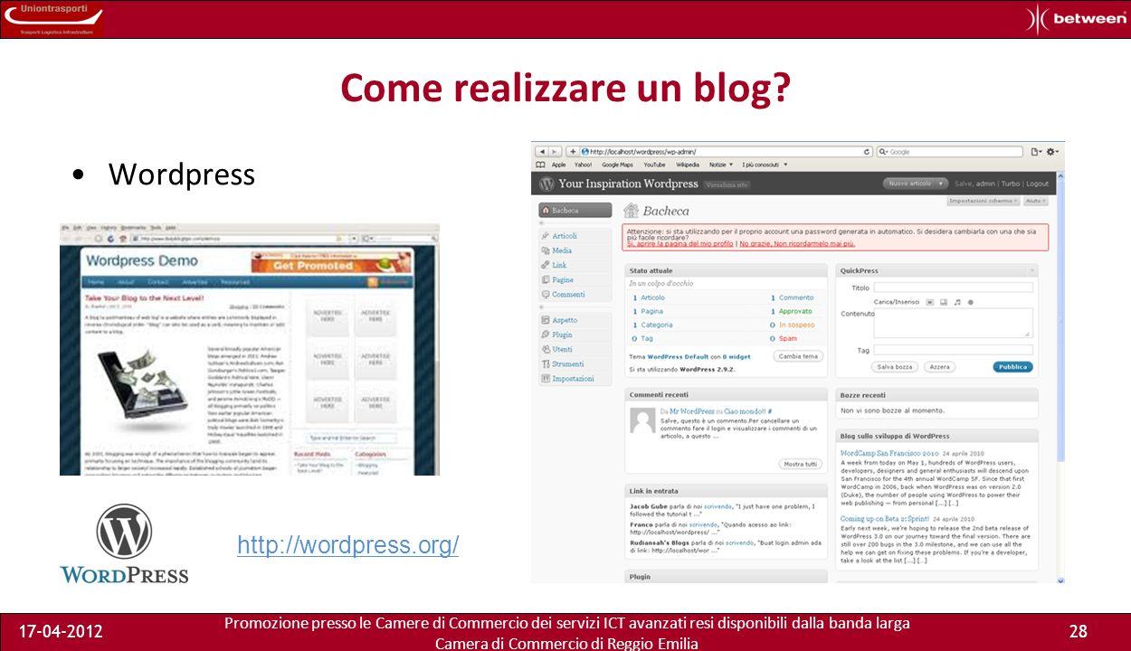 Promozione presso le Camere di Commercio dei servizi ICT avanzati resi disponibili dalla banda larga Camera di Commercio di Reggio Emilia 17-04-201228