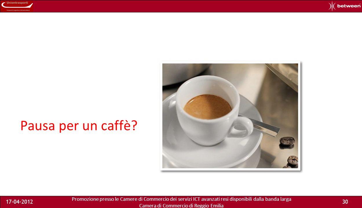 Promozione presso le Camere di Commercio dei servizi ICT avanzati resi disponibili dalla banda larga Camera di Commercio di Reggio Emilia 17-04-201230 Pausa per un caffè?