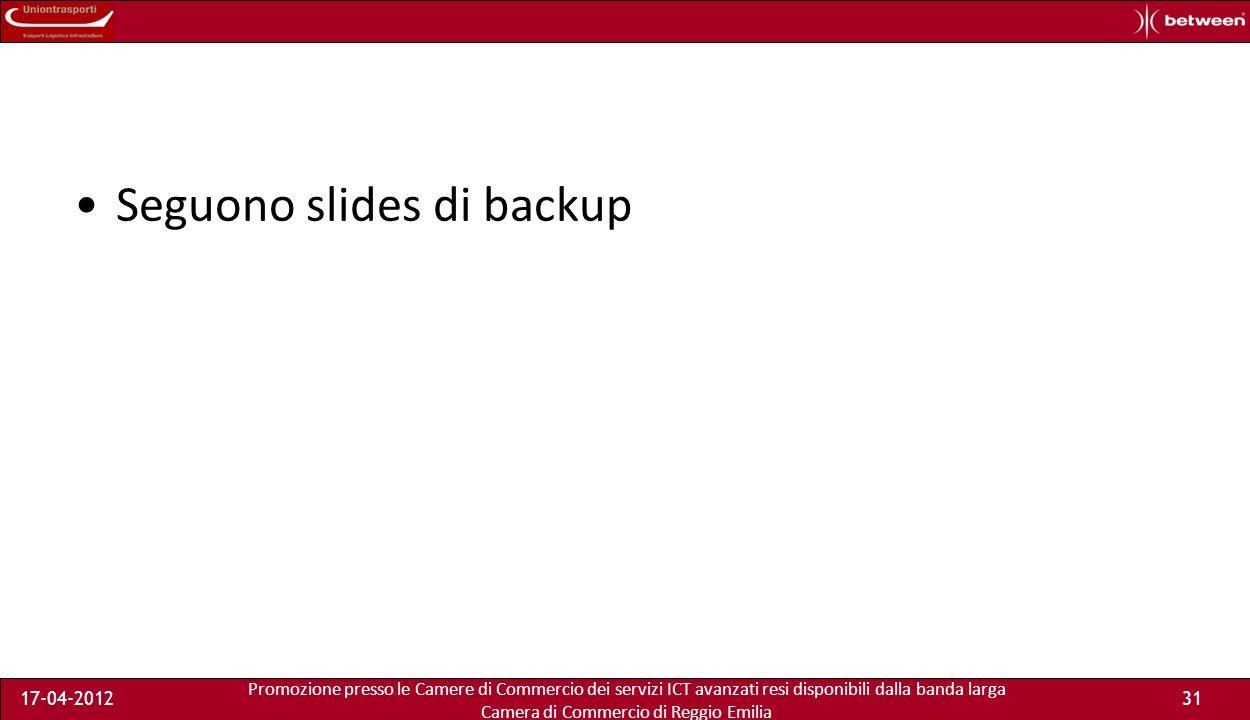 Promozione presso le Camere di Commercio dei servizi ICT avanzati resi disponibili dalla banda larga Camera di Commercio di Reggio Emilia 17-04-201231 Seguono slides di backup