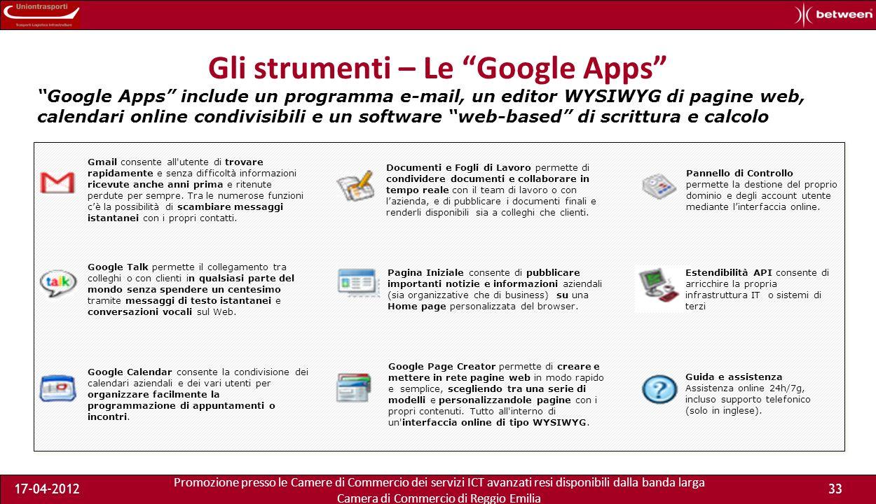 Promozione presso le Camere di Commercio dei servizi ICT avanzati resi disponibili dalla banda larga Camera di Commercio di Reggio Emilia 17-04-201233