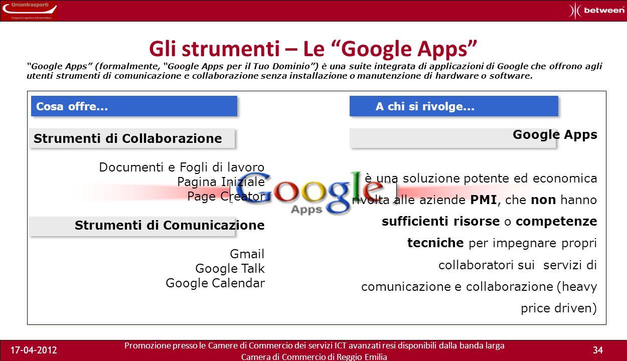 Promozione presso le Camere di Commercio dei servizi ICT avanzati resi disponibili dalla banda larga Camera di Commercio di Reggio Emilia 17-04-201234
