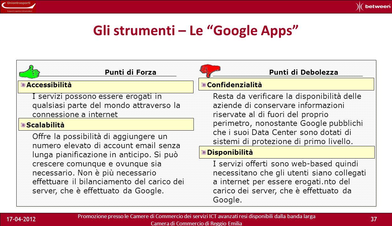 Promozione presso le Camere di Commercio dei servizi ICT avanzati resi disponibili dalla banda larga Camera di Commercio di Reggio Emilia 17-04-201237