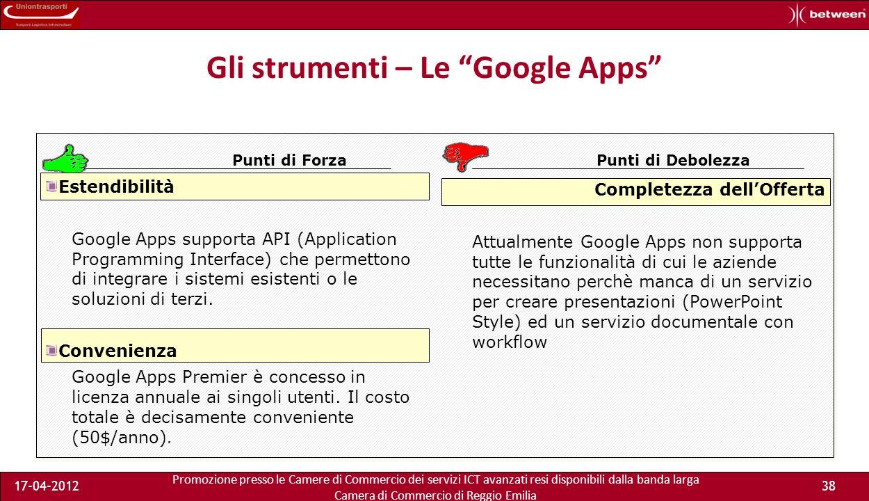 Promozione presso le Camere di Commercio dei servizi ICT avanzati resi disponibili dalla banda larga Camera di Commercio di Reggio Emilia 17-04-201238