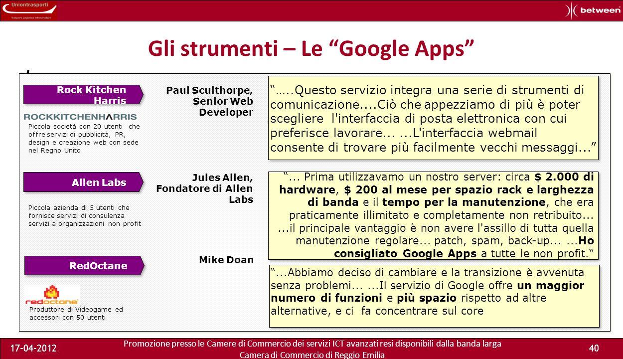 Promozione presso le Camere di Commercio dei servizi ICT avanzati resi disponibili dalla banda larga Camera di Commercio di Reggio Emilia 17-04-201240 Gli strumenti – Le Google Apps.