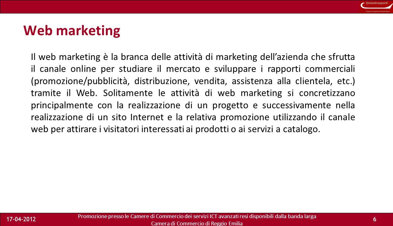 Promozione presso le Camere di Commercio dei servizi ICT avanzati resi disponibili dalla banda larga Camera di Commercio di Reggio Emilia 17-04-20126