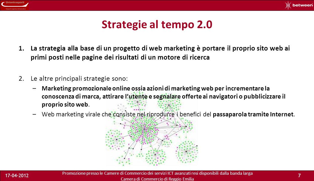 Promozione presso le Camere di Commercio dei servizi ICT avanzati resi disponibili dalla banda larga Camera di Commercio di Reggio Emilia 17-04-201218 Decalogo per il mio marketing – 1 la mia offerta si trova su Google.
