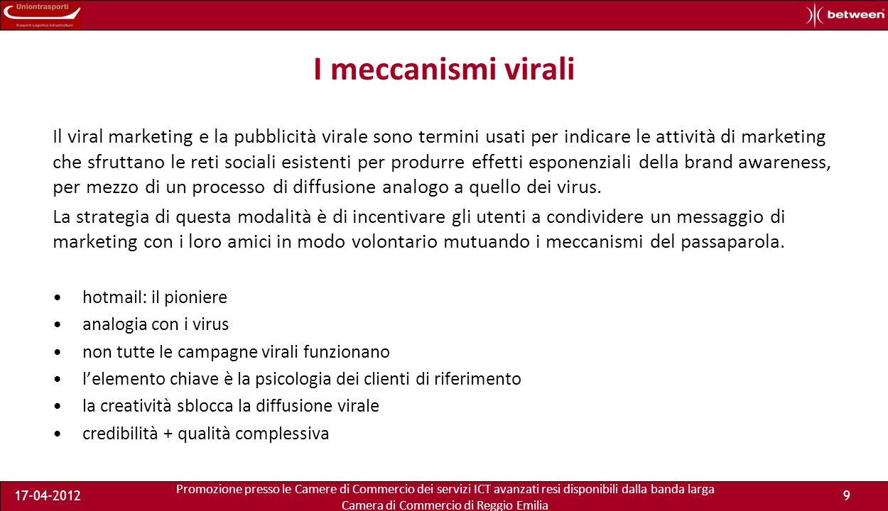 Promozione presso le Camere di Commercio dei servizi ICT avanzati resi disponibili dalla banda larga Camera di Commercio di Reggio Emilia 17-04-20129