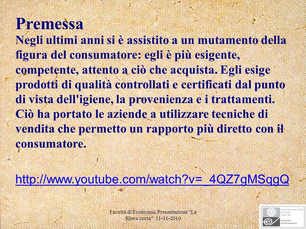 Facoltà di Economia, Presentazione La filiera corta 11-11-2010 La filiera corta nelle regioni La regione in cui si trovano più aziende strutturate per la vendita diretta è la Toscana, con 7500 aziende.