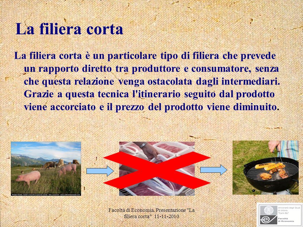 Facoltà di Economia, Presentazione La filiera corta 11-11-2010 Consiste nella vendita diretta dei prodotti da parte dell agricoltore.