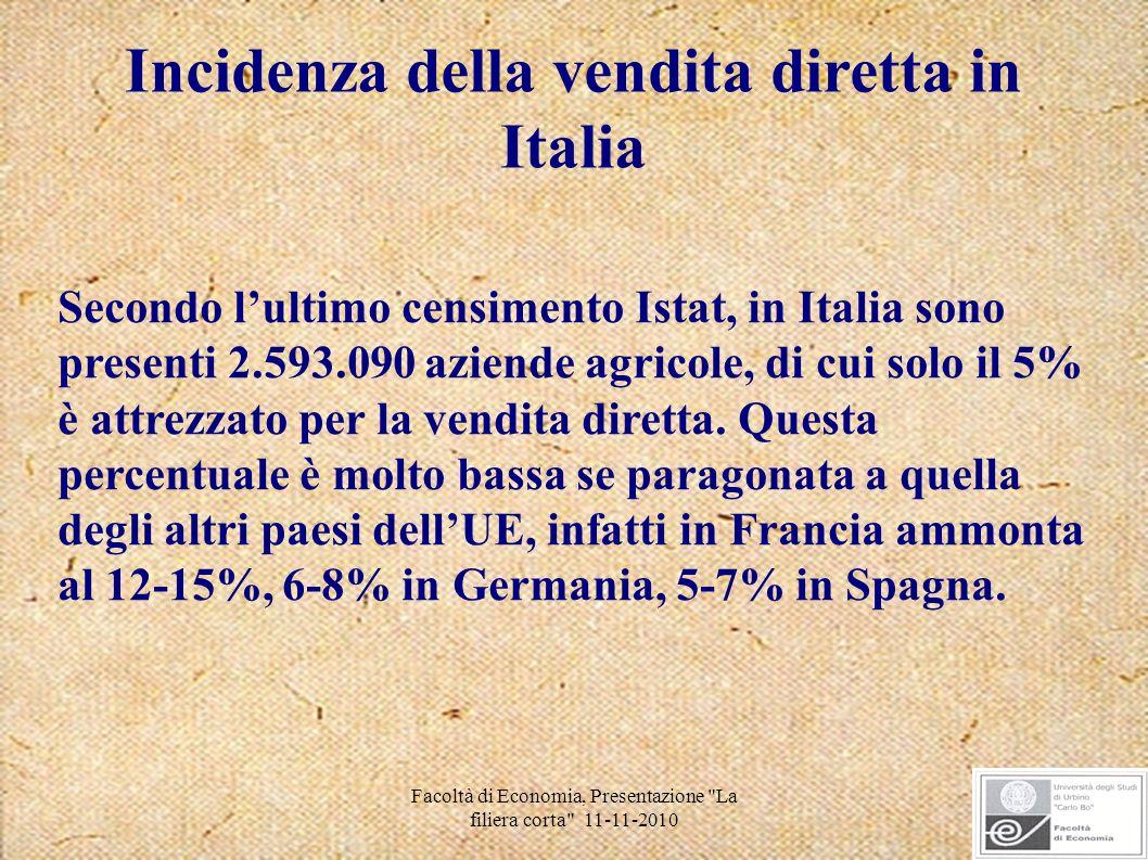 Facoltà di Economia, Presentazione La filiera corta 11-11-2010 Tuttavia in Italia si sta registrando un forte incremento della vendita diretta...