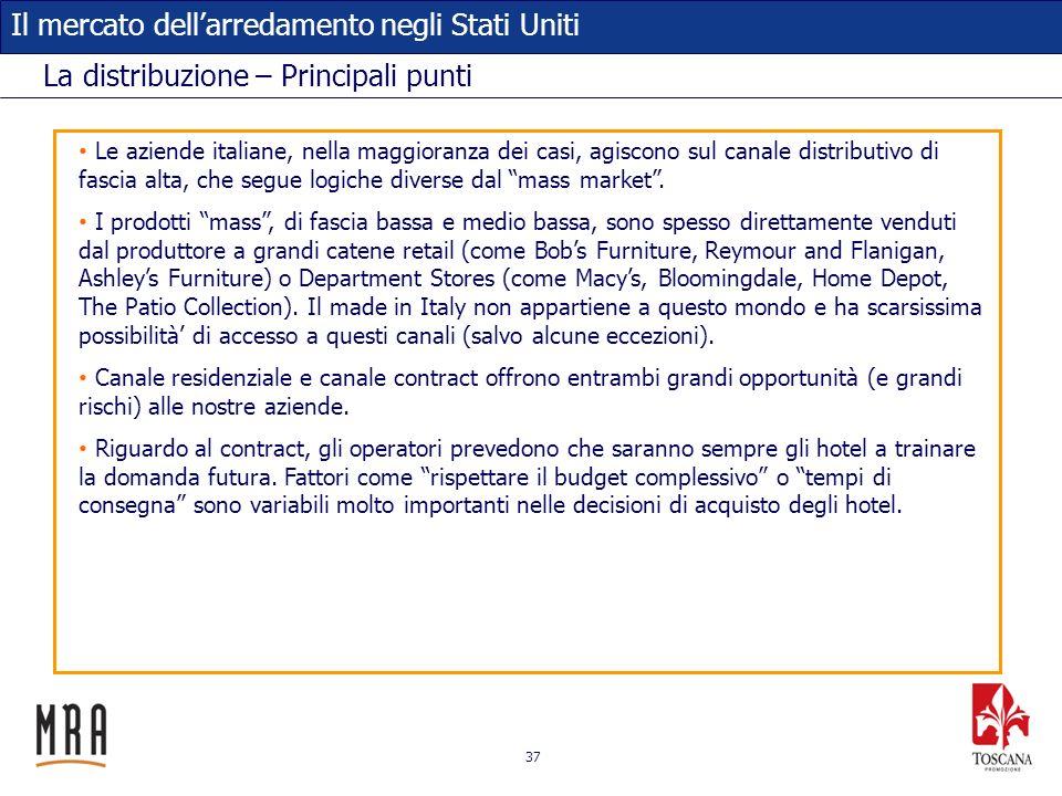 37 Il mercato dellarredamento negli Stati Uniti La distribuzione – Principali punti Le aziende italiane, nella maggioranza dei casi, agiscono sul cana