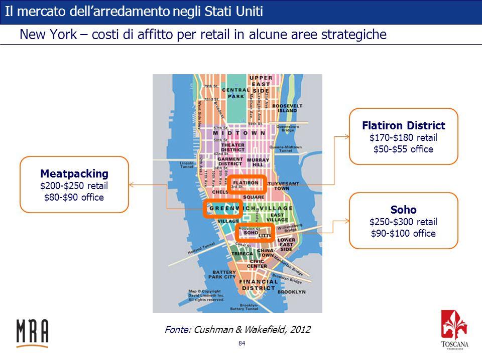 84 Il mercato dellarredamento negli Stati Uniti New York – costi di affitto per retail in alcune aree strategiche Flatiron District $170-$180 retail $