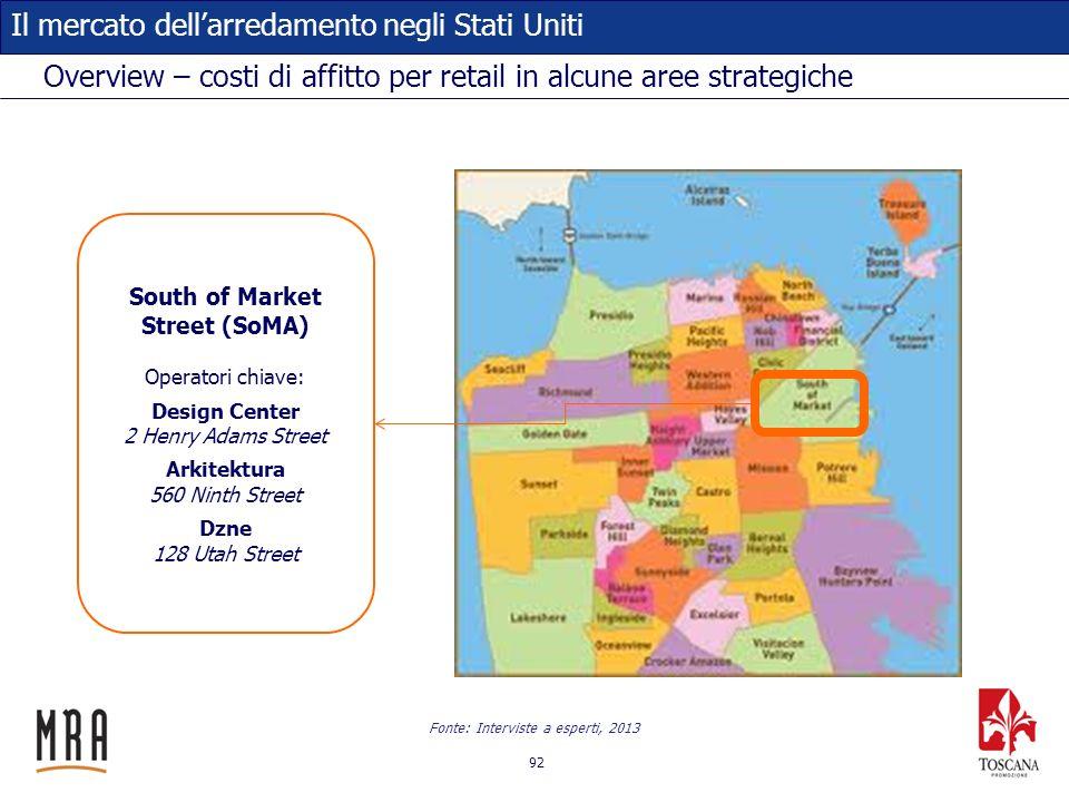 92 Il mercato dellarredamento negli Stati Uniti Overview – costi di affitto per retail in alcune aree strategiche South of Market Street (SoMA) Operat