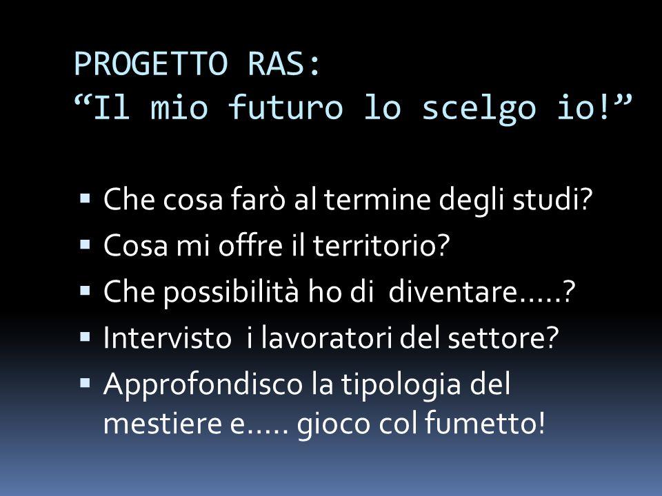 PROGETTO RAS: Il mio futuro lo scelgo io.Che cosa farò al termine degli studi.