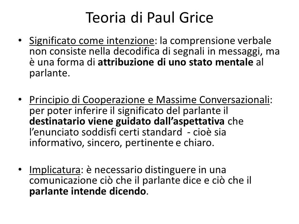 Teoria di Paul Grice Significato come intenzione: la comprensione verbale non consiste nella decodifica di segnali in messaggi, ma è una forma di attribuzione di uno stato mentale al parlante.