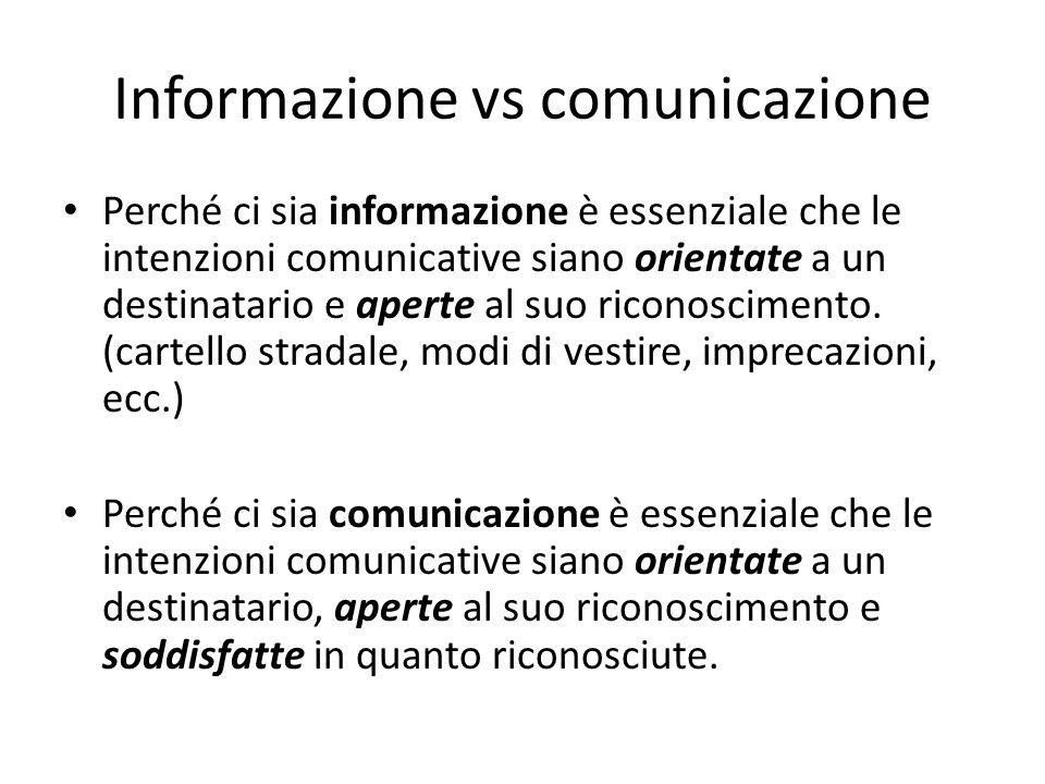 Informazione vs comunicazione Perché ci sia informazione è essenziale che le intenzioni comunicative siano orientate a un destinatario e aperte al suo riconoscimento.