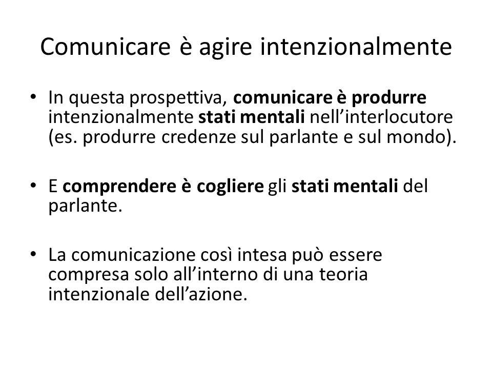 Comunicare è agire intenzionalmente In questa prospettiva, comunicare è produrre intenzionalmente stati mentali nellinterlocutore (es.