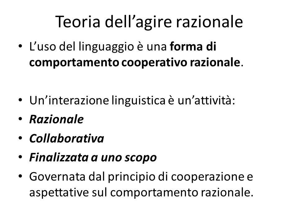 Teoria dellagire razionale Luso del linguaggio è una forma di comportamento cooperativo razionale. Uninterazione linguistica è unattività: Razionale C