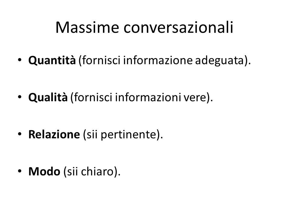 Massime conversazionali Quantità (fornisci informazione adeguata). Qualità (fornisci informazioni vere). Relazione (sii pertinente). Modo (sii chiaro)