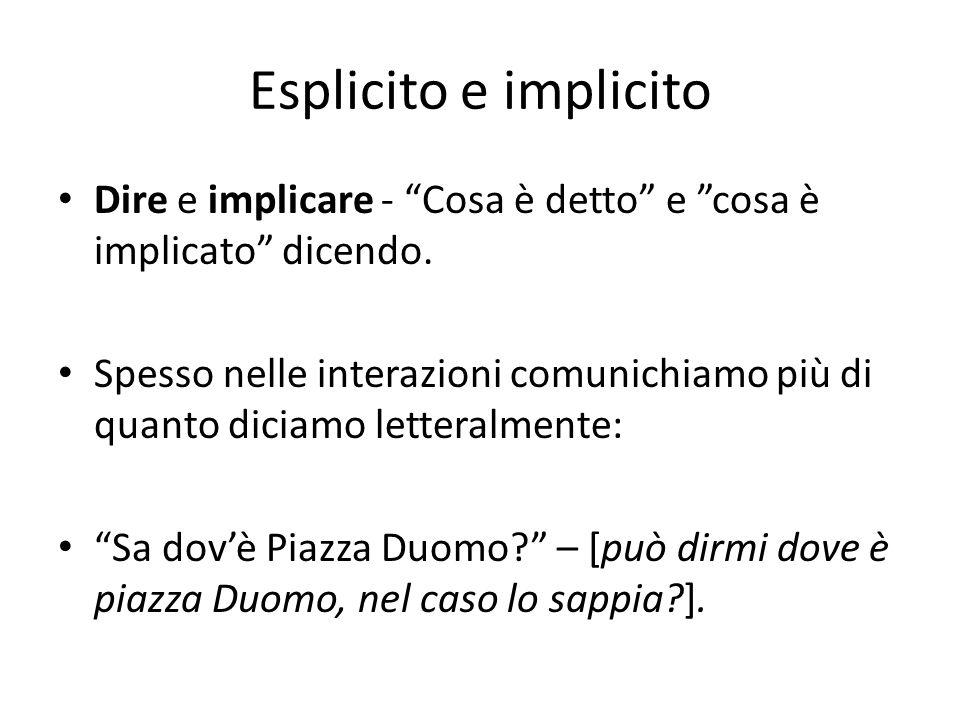 Esplicito e implicito Dire e implicare - Cosa è detto e cosa è implicato dicendo. Spesso nelle interazioni comunichiamo più di quanto diciamo letteral