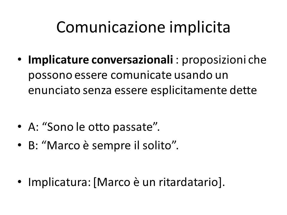 Comunicazione implicita Implicature conversazionali : proposizioni che possono essere comunicate usando un enunciato senza essere esplicitamente dette A: Sono le otto passate.