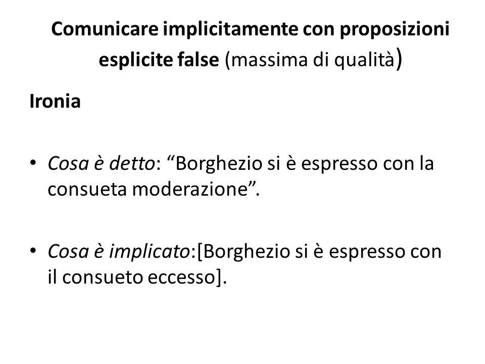 Comunicare implicitamente con proposizioni esplicite false (massima di qualità ) Ironia Cosa è detto: Borghezio si è espresso con la consueta moderazione.