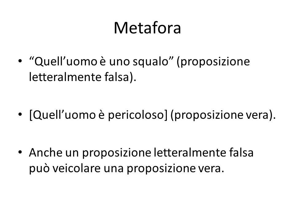 Metafora Quelluomo è uno squalo (proposizione letteralmente falsa). [Quelluomo è pericoloso] (proposizione vera). Anche un proposizione letteralmente
