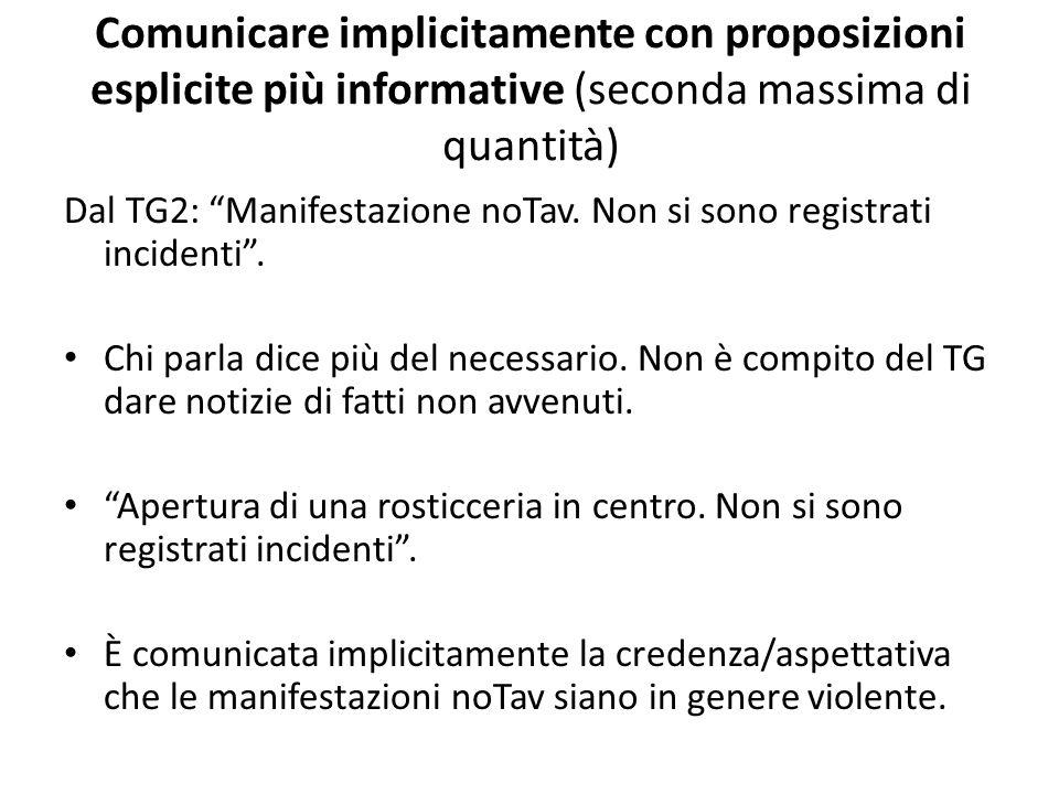 Comunicare implicitamente con proposizioni esplicite più informative (seconda massima di quantità) Dal TG2: Manifestazione noTav. Non si sono registra