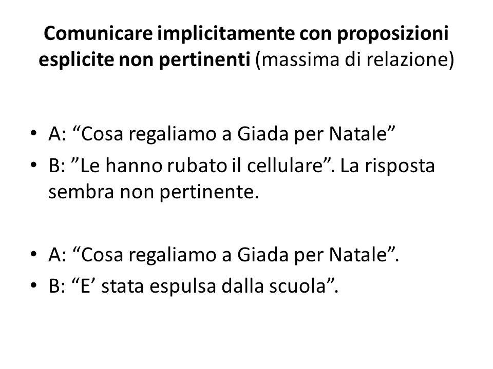 Comunicare implicitamente con proposizioni esplicite non pertinenti (massima di relazione) A: Cosa regaliamo a Giada per Natale B: Le hanno rubato il