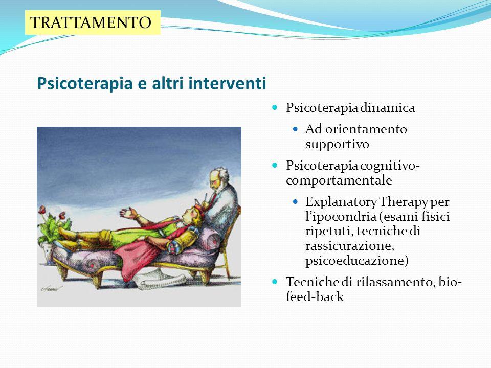Psicoterapia e altri interventi Psicoterapia dinamica Ad orientamento supportivo Psicoterapia cognitivo- comportamentale Explanatory Therapy per lipoc