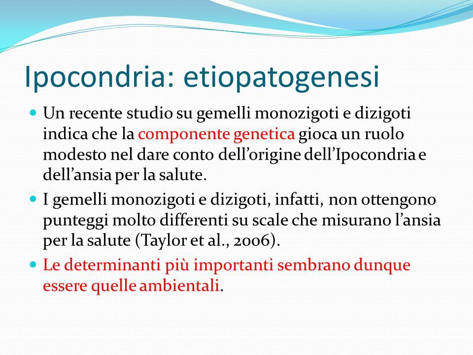 Ipocondria: etiopatogenesi Un recente studio su gemelli monozigoti e dizigoti indica che la componente genetica gioca un ruolo modesto nel dare conto