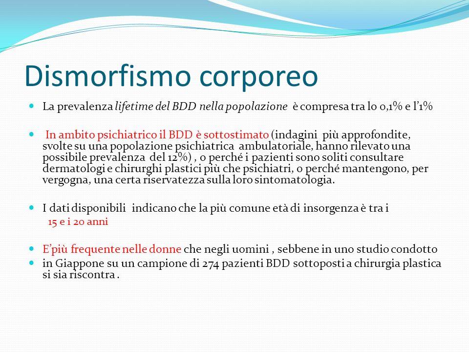 Dismorfismo corporeo La prevalenza lifetime del BDD nella popolazione è compresa tra lo 0,1% e l1% In ambito psichiatrico il BDD è sottostimato (indag