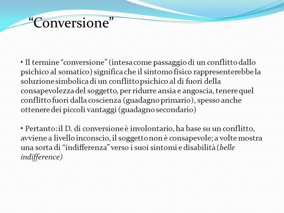 Conversione Il termine conversione (intesa come passaggio di un conflitto dallo psichico al somatico) significa che il sintomo fisico rappresenterebbe