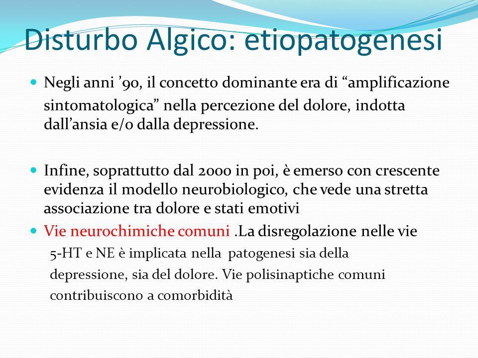 Disturbo Algico: etiopatogenesi Negli anni 90, il concetto dominante era di amplificazione sintomatologica nella percezione del dolore, indotta dallan