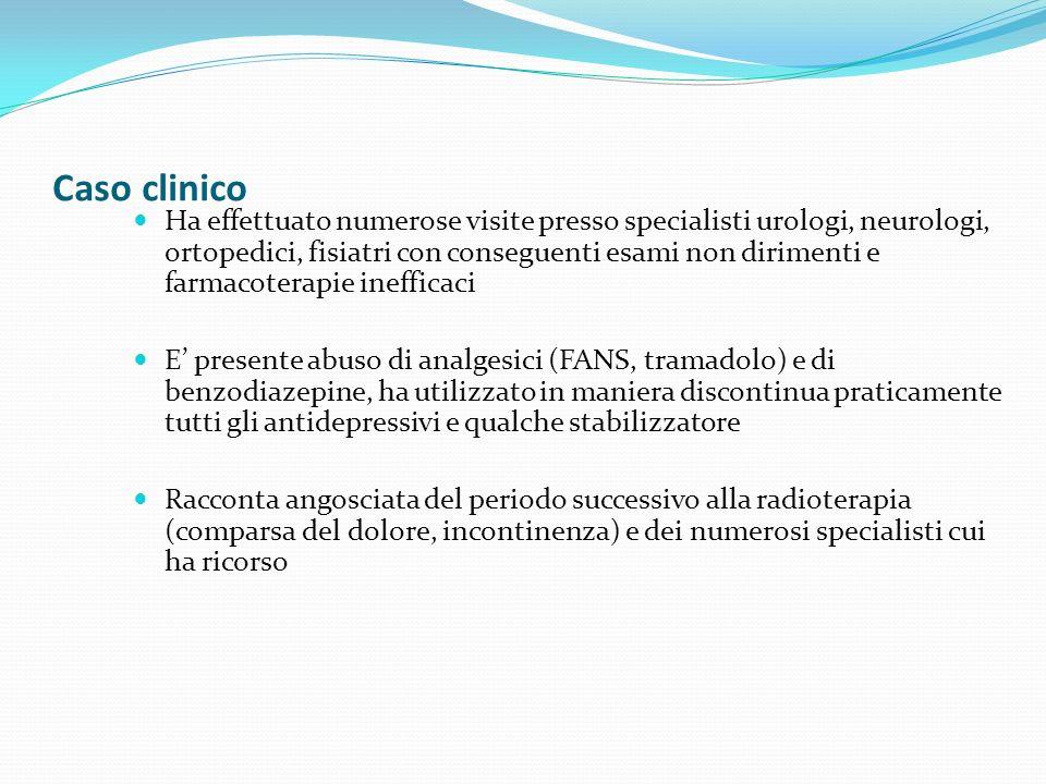 Caso clinico Ha effettuato numerose visite presso specialisti urologi, neurologi, ortopedici, fisiatri con conseguenti esami non dirimenti e farmacote