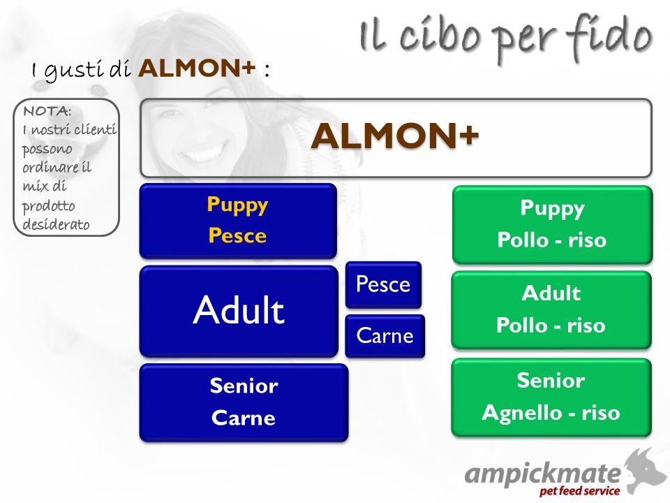 ALMON+ Puppy Pesce Adult Senior Carne Pesce Carne Puppy Pollo - riso Adult Pollo - riso Senior Agnello - riso I gusti di ALMON+ :