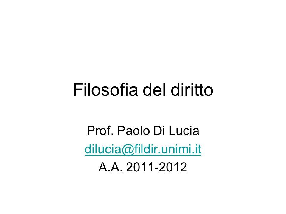 Filosofia del diritto Prof. Paolo Di Lucia dilucia@fildir.unimi.it A.A. 2011-2012