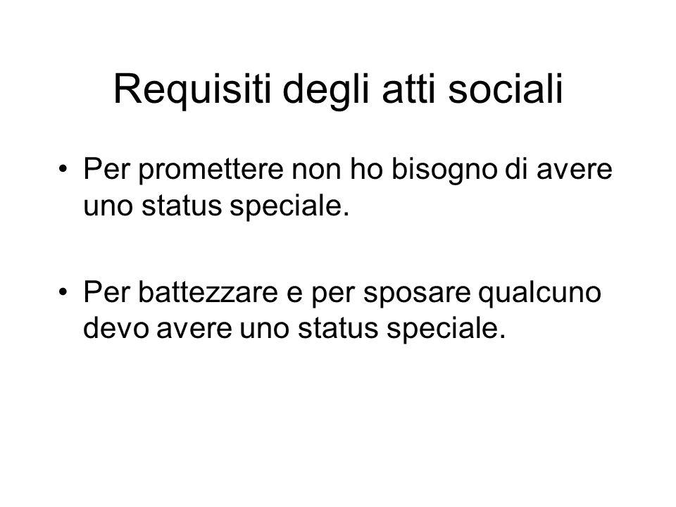 Requisiti degli atti sociali Per promettere non ho bisogno di avere uno status speciale. Per battezzare e per sposare qualcuno devo avere uno status s