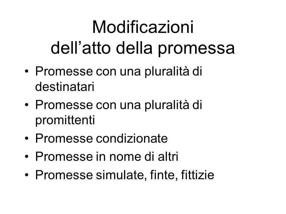 Modificazioni dellatto della promessa Promesse con una pluralità di destinatari Promesse con una pluralità di promittenti Promesse condizionate Promes