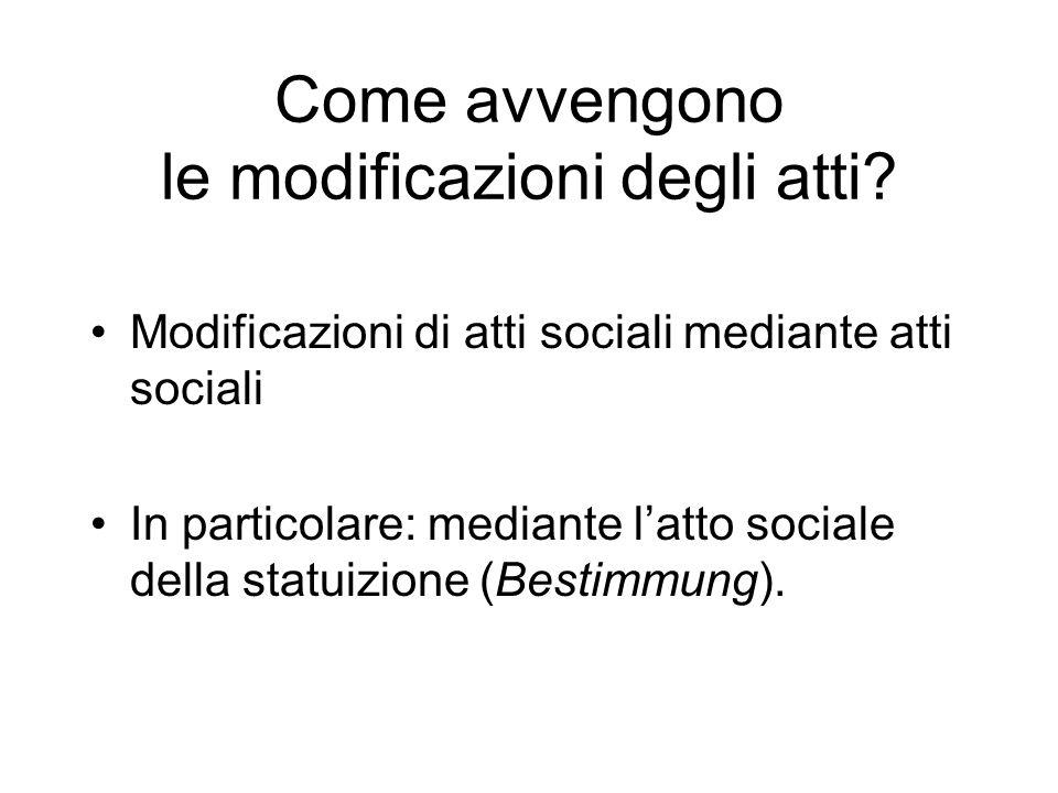 Come avvengono le modificazioni degli atti? Modificazioni di atti sociali mediante atti sociali In particolare: mediante latto sociale della statuizio