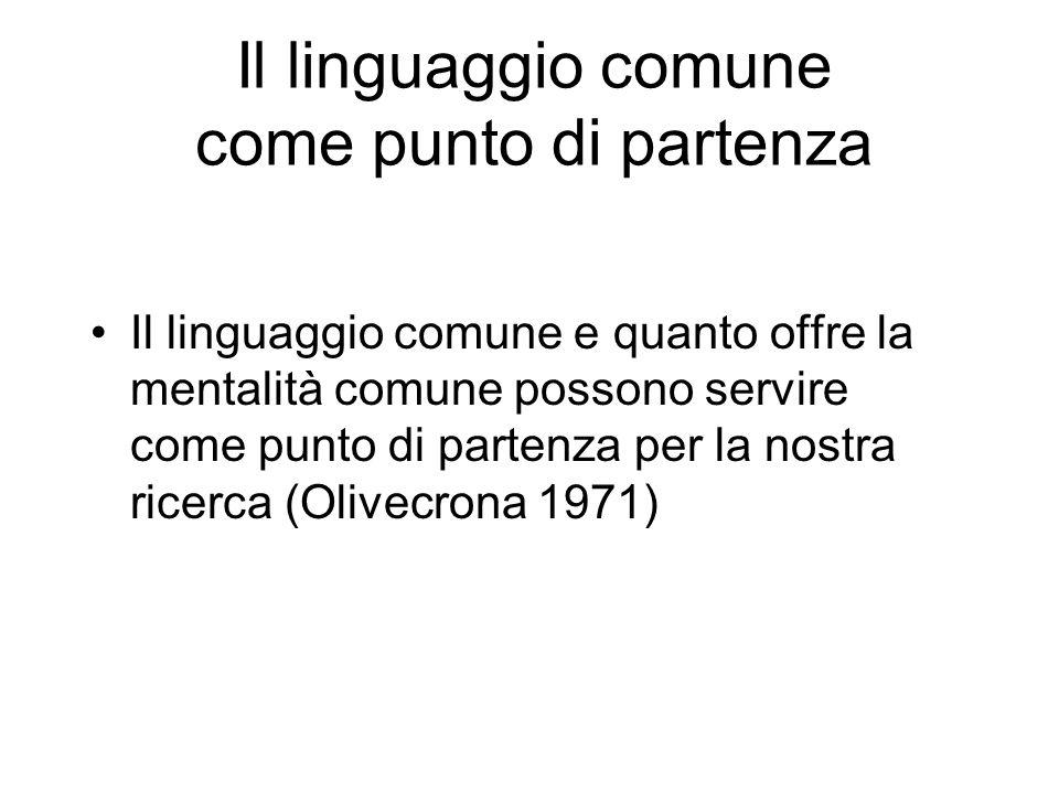 Il linguaggio comune come punto di partenza Il linguaggio comune e quanto offre la mentalità comune possono servire come punto di partenza per la nost