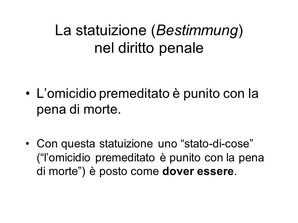 La statuizione (Bestimmung) nel diritto penale Lomicidio premeditato è punito con la pena di morte. Con questa statuizione uno stato-di-cose (lomicidi