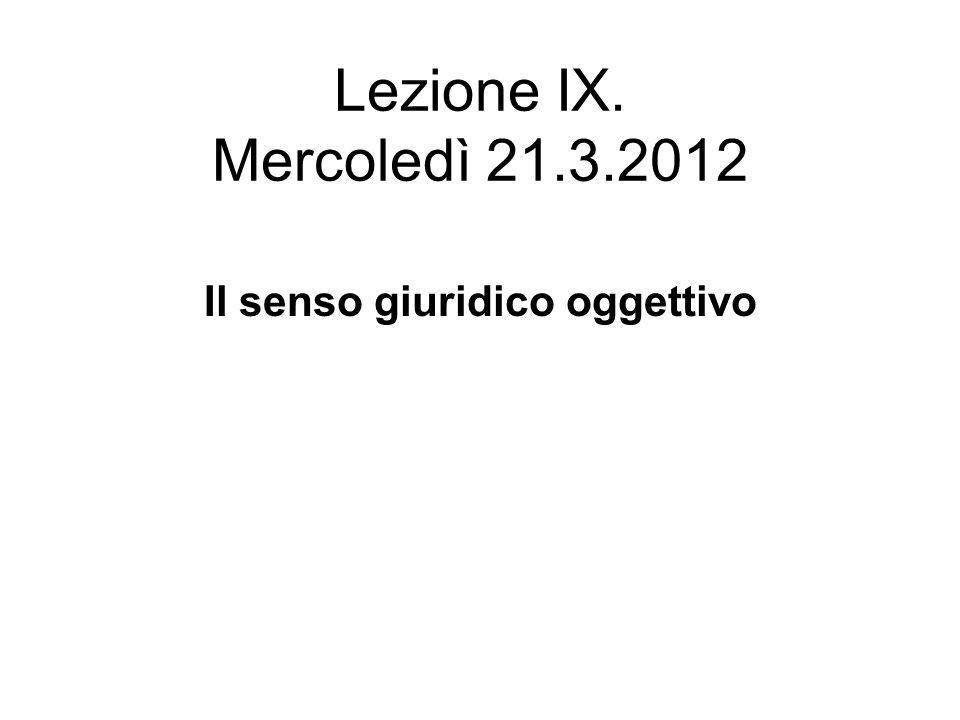 Lezione IX. Mercoledì 21.3.2012 Il senso giuridico oggettivo