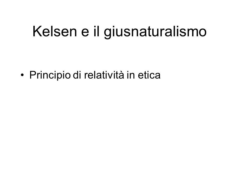 Kelsen e il giusnaturalismo Principio di relatività in etica