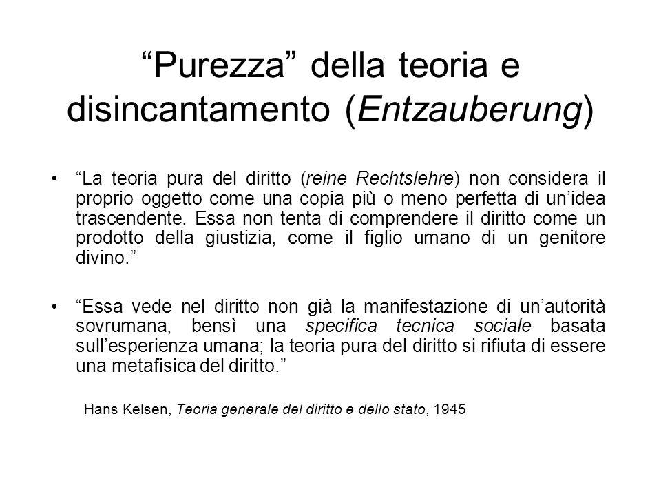 Purezza della teoria e disincantamento (Entzauberung) La teoria pura del diritto (reine Rechtslehre) non considera il proprio oggetto come una copia p