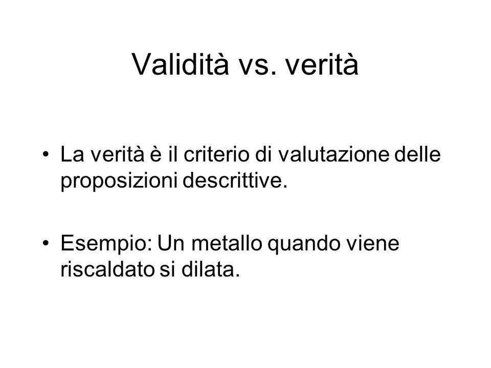 La verità è il criterio di valutazione delle proposizioni descrittive. Esempio: Un metallo quando viene riscaldato si dilata.