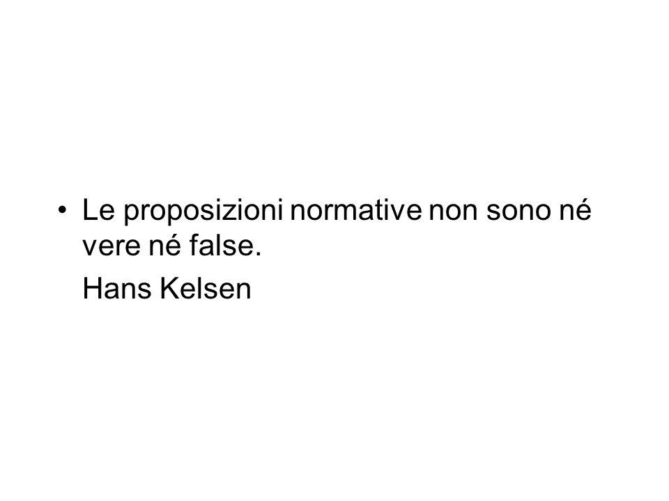 Le proposizioni normative non sono né vere né false. Hans Kelsen