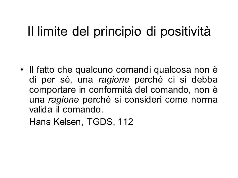 Il limite del principio di positività Il fatto che qualcuno comandi qualcosa non è di per sé, una ragione perché ci si debba comportare in conformità